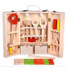 Kids Multifunctional Tool Toy Set Maintenance Box Wooden Nut Combination Gift Toy(China)