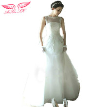 AnXin SH Luxury French lace princess wedding dress fashion bride white lace wedding dress new 526