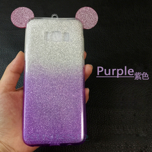 3D Minnie Mickey Mouse Ears silicone Glitter Gradient Case for Samsung galaxy S8 Plus S5 S6 S7 edge Case Cover phone cases(China)