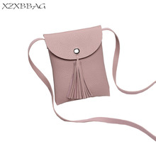 XZXBBAG Women Fashion Tassels Messenger Bags Girl PU Cell Phone Pocket Pouch Students Crossbody Case Girls Mini Shoulder Bags(China)