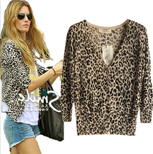 Autumn women's sweater V-neck shell button Leopard thin three quarter sleeve sweater ladies' Cardigan sweater knitwear(China)