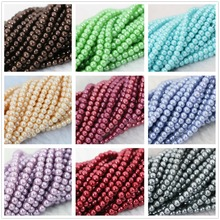 "Fashion candy colors multicolor imitation shell pearl 3mm-14mm round women girls jewelry making loose beads jewelry 15""B1185"