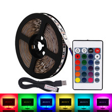 BEIYUN RGB LED Strip Waterproof SMD 5050 60LED/M DC 5V USB LED Light Strip Flexible Tape Bias Lighting TV Backlight With Remote(China)