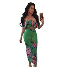 Floral Print 2 Piece Bodycon Dress Women Sexy Off Shoulder Ruffle Crop Top  Back Slit Dress d0e05a90299f