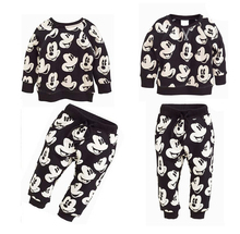 Boys&Girls Children clothing Sport Suit Mickey Minnie Mouse Cartoon Printing fashion Cotton Sweatshirts + Pants Set Kids Wear
