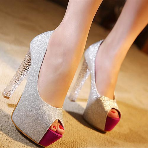 2017 new fashion princess crystal with Women high heels shoes sandals thick with fish head sequined Women pumps 1248<br><br>Aliexpress
