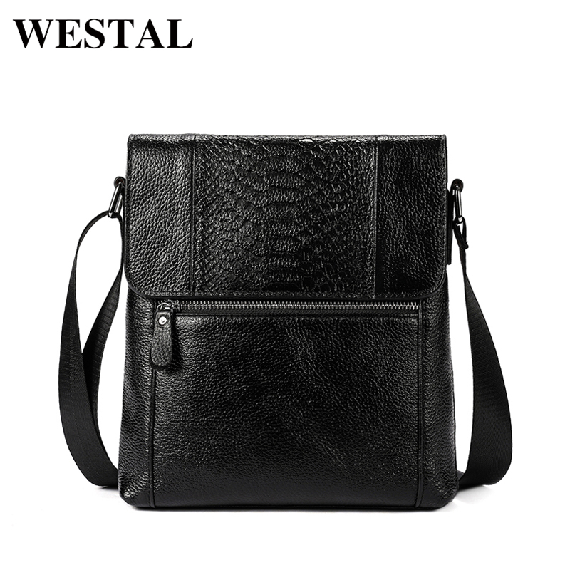 WESTAL mens shoulder bag genuine leather messenger bag men leather crossbody  fashion shell flap black coffee zipper bags 7835<br>