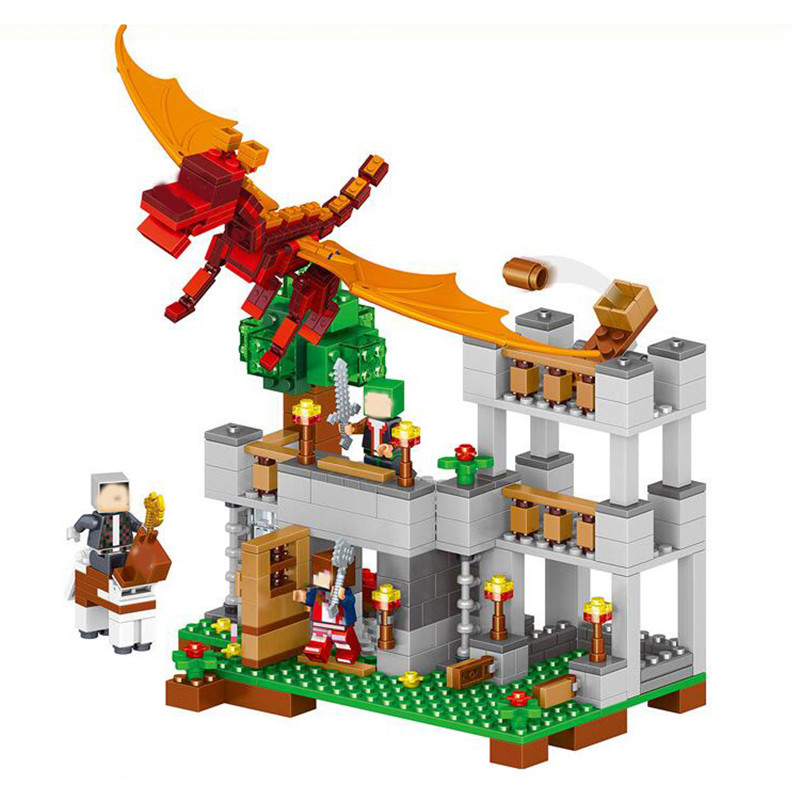 LELE 468PCS My World Minecraft Magic City Magma Dragon Building Blocks Bricks fun gifts Compatible Lepin Toys For Children<br>