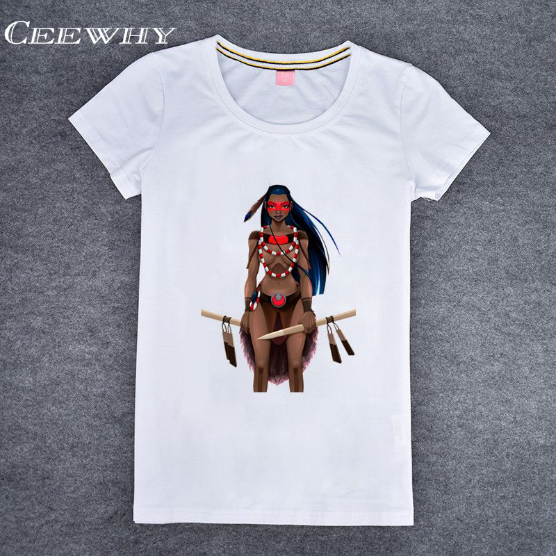 CEEWHY White Modal Short Sleeve Indian Character Printed Graphic Tees Women Comic 3D T-shirt Novelty Funny Tee shirts Tops(China (Mainland))