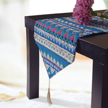 1 piece National style blue table runner linen cotton table covers luxury home hotel runners wedding party decoration