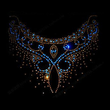 Nice round neckline hotfix rhinestones Heat transfer design motif Rhinestone applique iron on patch for clothing accessories(China)