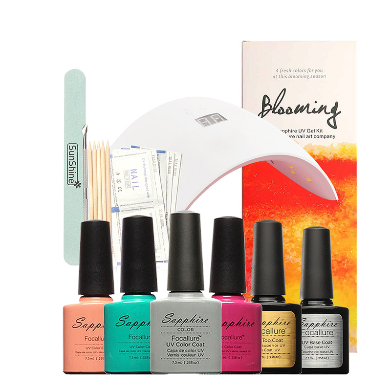 FOCALLURE Nail Gel Polish Starter Kit Set SUN9X  LED Lamp 4 Colors Soak Off Gel Polish,Top Base Coat,Cleanser,Removers <br>