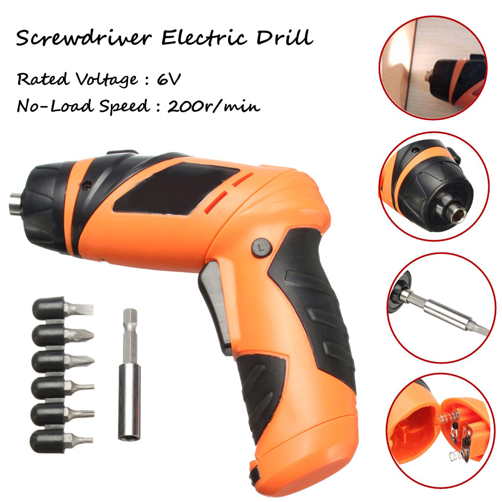 6V Carbon Steel Screwdriver Battery Operated Cordless Wireless Mini Electric Screw Driver Tool<br><br>Aliexpress
