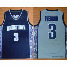 Allen Iverson #3 Black/Blue/White Georgetown Hoyas Stitched Basketball Jersey Sewn Camisa Embroidery Logos