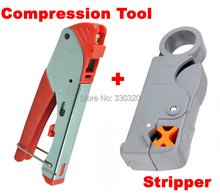 RG59/4C RG6/5C F-Type Waterproof Connectors Compression Crimping Tool with two exchangeable head,coaxial cable stripper