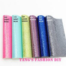 10pcs-High Qility DIY Small Grid glitter  synthetic leather (20x22cm per pcs) can choose color