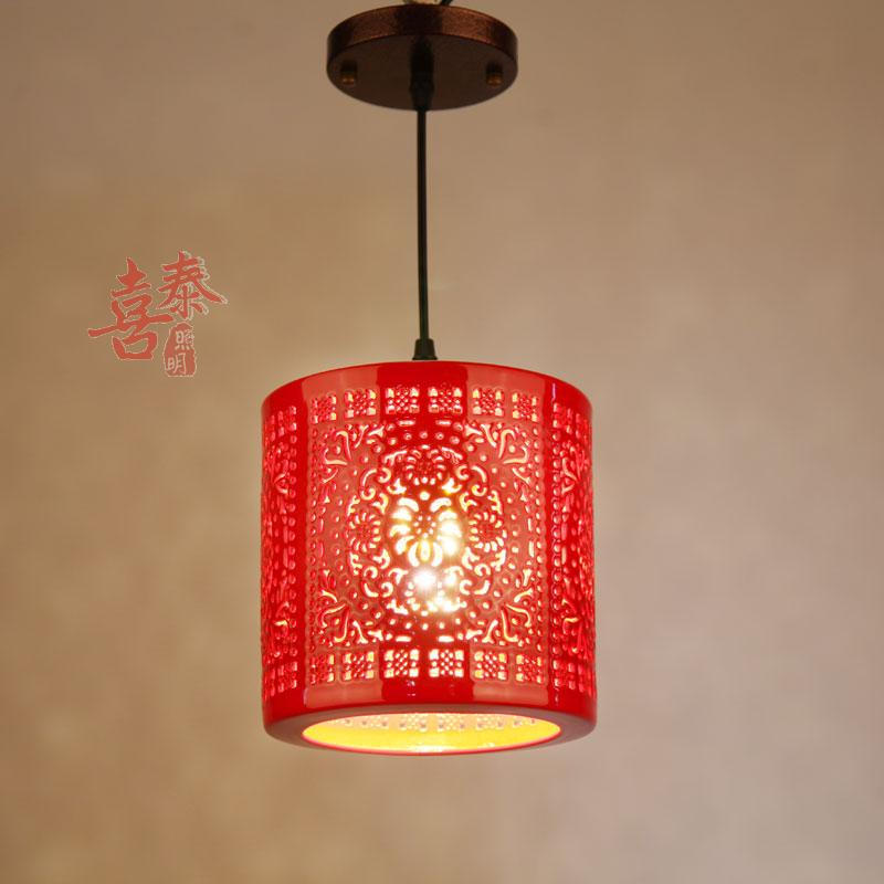 Ceramic Pendant Lights LED Single Head Small Pendant lamps Round Restaurant Corridor Bar Reception Hall Red Lantern  <br>