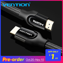 Vention HDMI кабель 1 м/2 м/5 м/8 м/10 м HDMI Ethernet HDMI разъем HDMI Кабель-адаптер 1,4 В 2,0 В 1080 P 3D для ПК HDTV проектор(China)