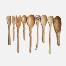 Japan Style Wooden Spoon Forks Irregular Shape Honeycomb Spoon Rice Scoop Eco-Friendly Natural Wood Kid's Spoon Tableware(China)