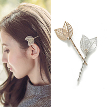 1Pair Silver Gold Color Elegant Vintage Metal Punk Hair Slides Hollow Leaf Hair Clip Barrette Hairpin For Women Hair Accessories