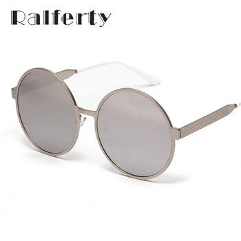 Ralferty Mulheres Homens Rodada óculos de Sol Do Vintage Do Punk Espelhado UV400 Óculos de Sol Para Homens e Mulheres, Oversize Retro Shades Oculos 1858