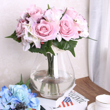 9pcs Artificial Rose Flowers Rose Hydrangea Silk Flower Bridal Bridesmaid Bouquet Latex Real Touch Floral Wedding Party