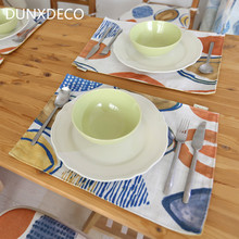 DUNXDECO Table Placemat Plate Cover Pad Tablecloth Kitchen Desk Accessories Colorful Pants Leave Print Home Decoration