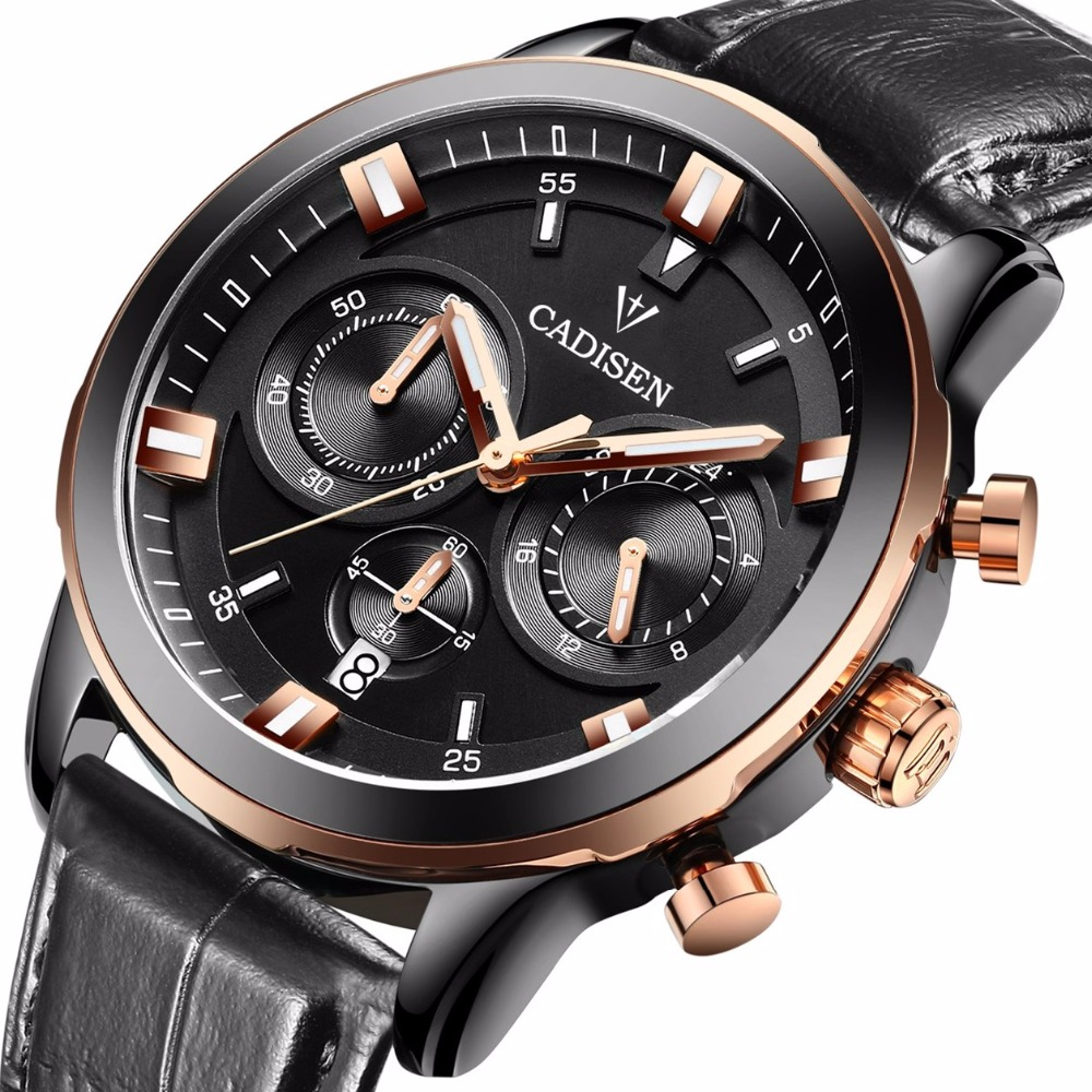 2016 New luxury fashion Watch Men Chronograph Sport Watches Genuine Leather Mens Quartz military Wrist watch relogio masculino<br>