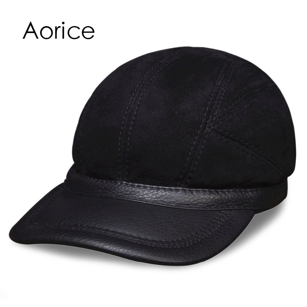 HL034 Mens baseball caps hats  genuine leather brand new real leather cap hat one fur with real fur inside <br>