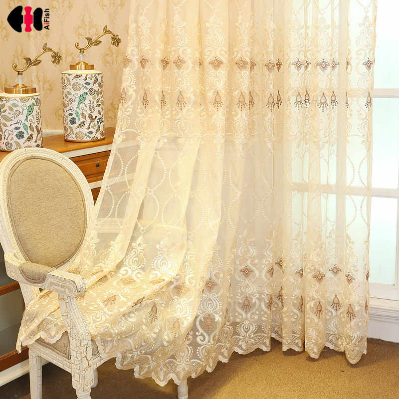 European Luxury Curtain for Living Room Sheer Voile Fabric Golden Lace Net Balcony Window Drapes M072C