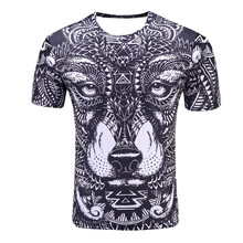2017 new Compression Shirt listing Men's Wolf Totem 3D printing Fitness T-shirt Quick-drying short-sleeved Male Crossfit