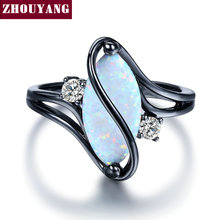 ZHOUYANG Oval Opal Stone Black Gold Color Rings Fashion Jewelry For Women and Man Party Gift Wholesale ZYR642(China)