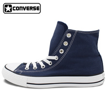 Custom Hand Painted BLUE Converse All Star Shoes High Top Canvas Sneakers Price Varies with Design(China)
