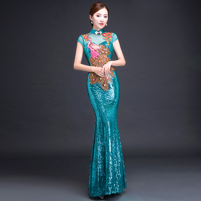 Bride Cheongsam Long Modern Qipao Lace Sexy Green Chinese Oriental Style Dresses Traditional Wedding Dress Women Fashion S-3XL