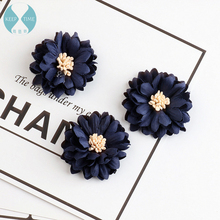 Microfiber purplish blue daisies DIY hair rope accessories side clamping chuck head hoop material Brooch(China)