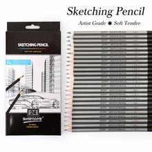 Best Quality 12/24Pcs 9H-14B Set Drawing Sketching Pencil Soft Safe Non-toxic Standard Pencils Professional Office School Pencil(China)
