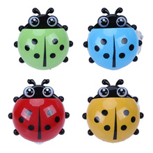 Bathroom Lovely Ladybug Toothbrush and Toothpaste Wall Suction Cup Holder Tray  cute Ladybird Design Accessories