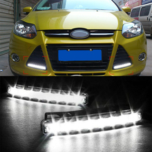 1 Pair  Car-styling LED Auto DRL Parking Driving Daytime Running Lamp Fog Light Head Lamp 8 Daylight Kit Accessories Super White