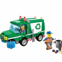 New Arrival!!! 196 Pcs/set Cleaners Protect Environment Garbage Vehicle Building Blocks Sweeper Truck Assembly Educational Toys