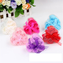 6Pcs beatutiful Scented Rose Flower Petal Bath Body Soap Wedding Party Gift Good gift for your good friends free shipping(China)