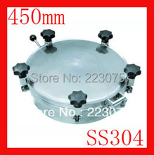 New arrival 450mm SS304 Circular manhole cover with pressure Round tank manway door Height:100mm Hatch