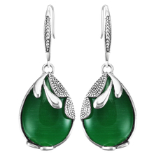 Hand Made Fashion Natural Stone Green Opal Earrings silver color Dangle Drop Earrings For Women 2017 vintage earring