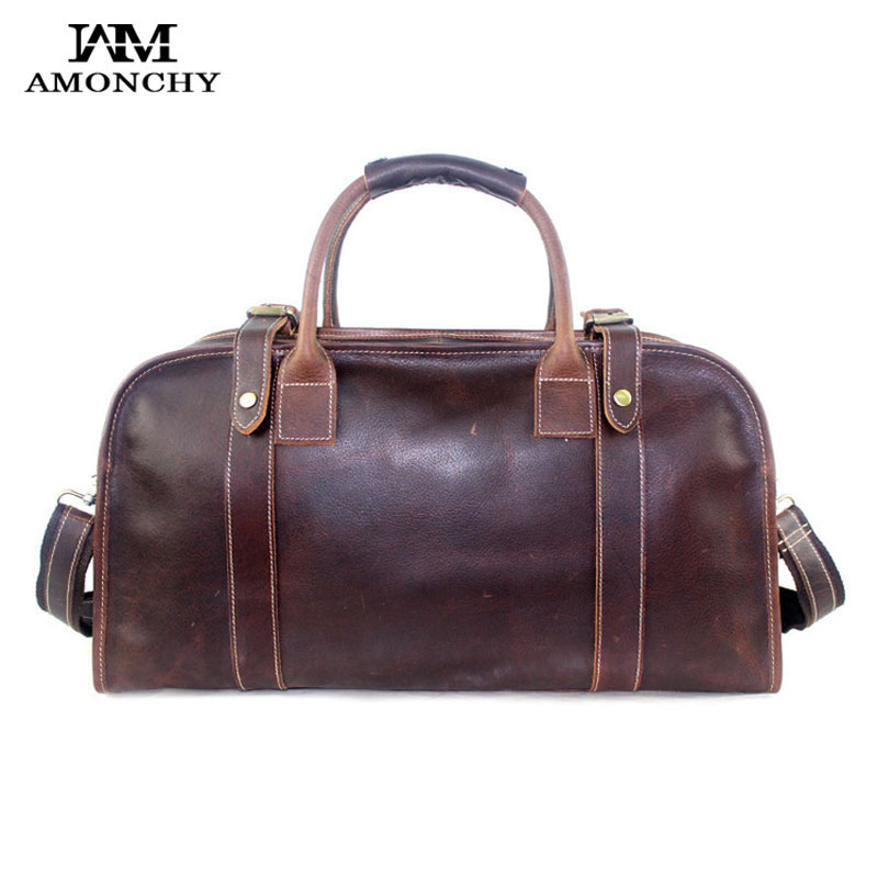 100% Genuine Leather Men Bags Crazy Horse Leather Man Travel Handbags Designer Vintage Shoulder Bags Large Capacity Totes HM18<br><br>Aliexpress