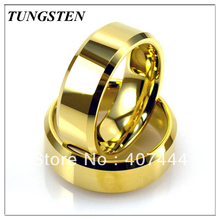 Wholesales Cheapest Price 10 pieces /lot Free Shipping 8MM Tungsten Golden Color Men's Ring Wedding Ring Free Shipping