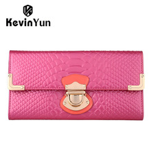 KEVIN YUN Fashion designer brand women wallets patent leather purse long clutch wallet(China)