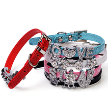 5 Colors DIY Name Dog Collars Leather Personalized Pet Dogs Collar DIY Cat Names Pet with Free Name and Charm