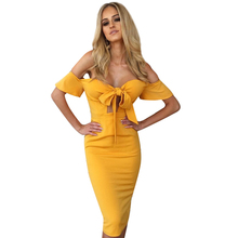YJSFG HOUSE Sexy Women Summer Bodycon Party Club Dresses 2017 Fashion Ladies Slim Off Shoulder Bow Pencil Dress Strapless Robe