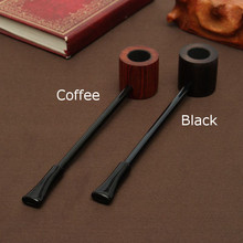 Ebony Wood Pipe Smoking Pipes Portable Smoking Pipe Herb Tobacco Pipes Grinder Smoke Gifts Black/Coffee 2 Colors(China)