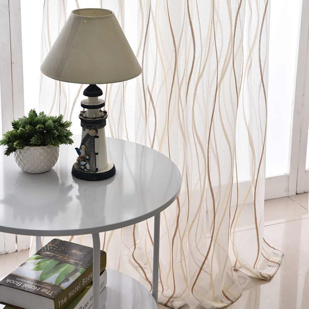 Thicken White Curtain Screens For Living Room Balcony Modern Striped Curtain Tulle Bedroom Window Cortinados De Sala wp377&30