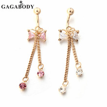 GAGA 20Pcs/Lot 14g Bow Belly Ring Swing Clear Navel Bar Gold-Color Dangle Body Jewelry Piercing(China)